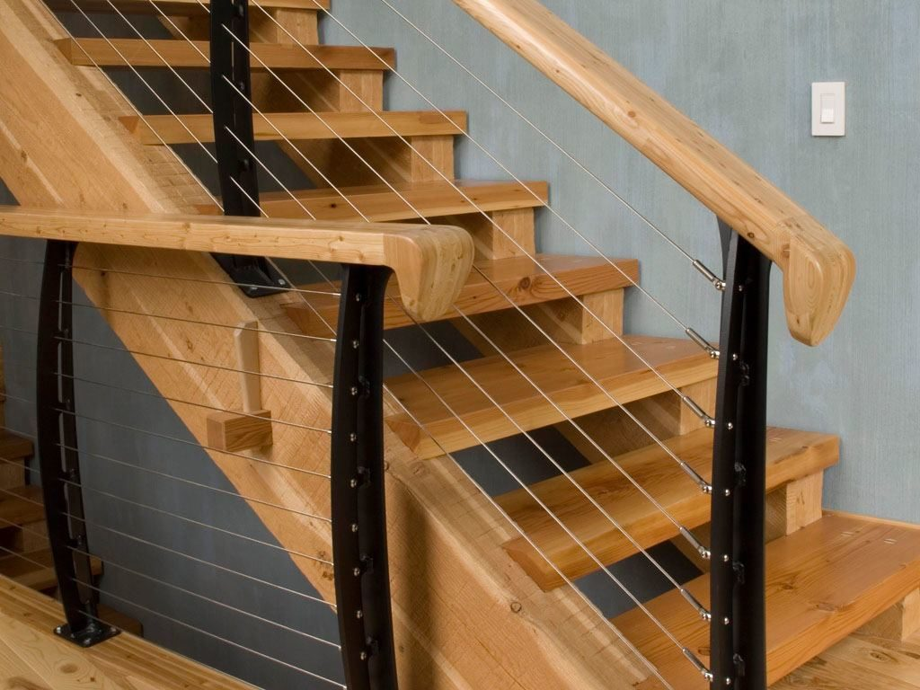 Two inch stair treads and timber stringers with cable rail