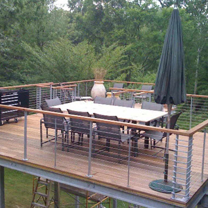 Galvanized Cable Railing-Floating Deck – Bloomfield Twp, MI