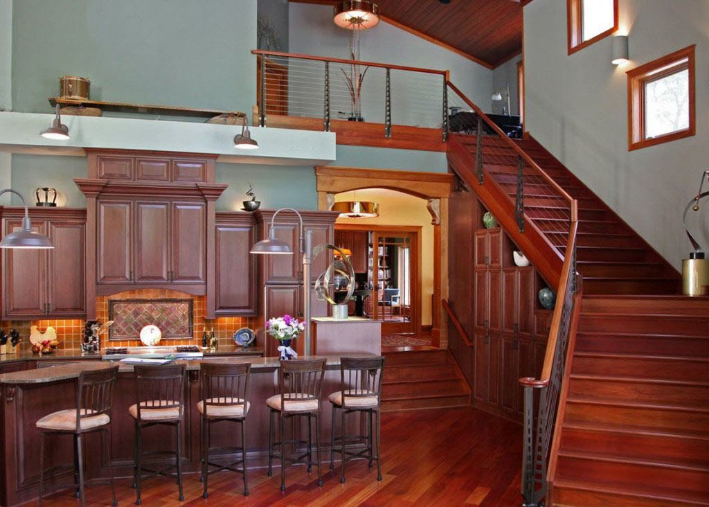 Cherry Staircase Cable Railing in the Chicago Style with Custom Newel post