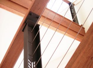 Cherry hand rail and herringbone pattern