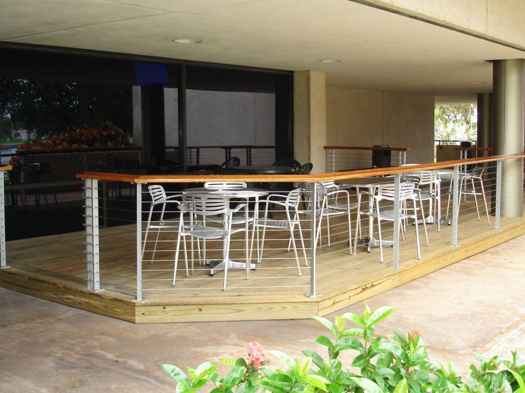 College dining area cable railing