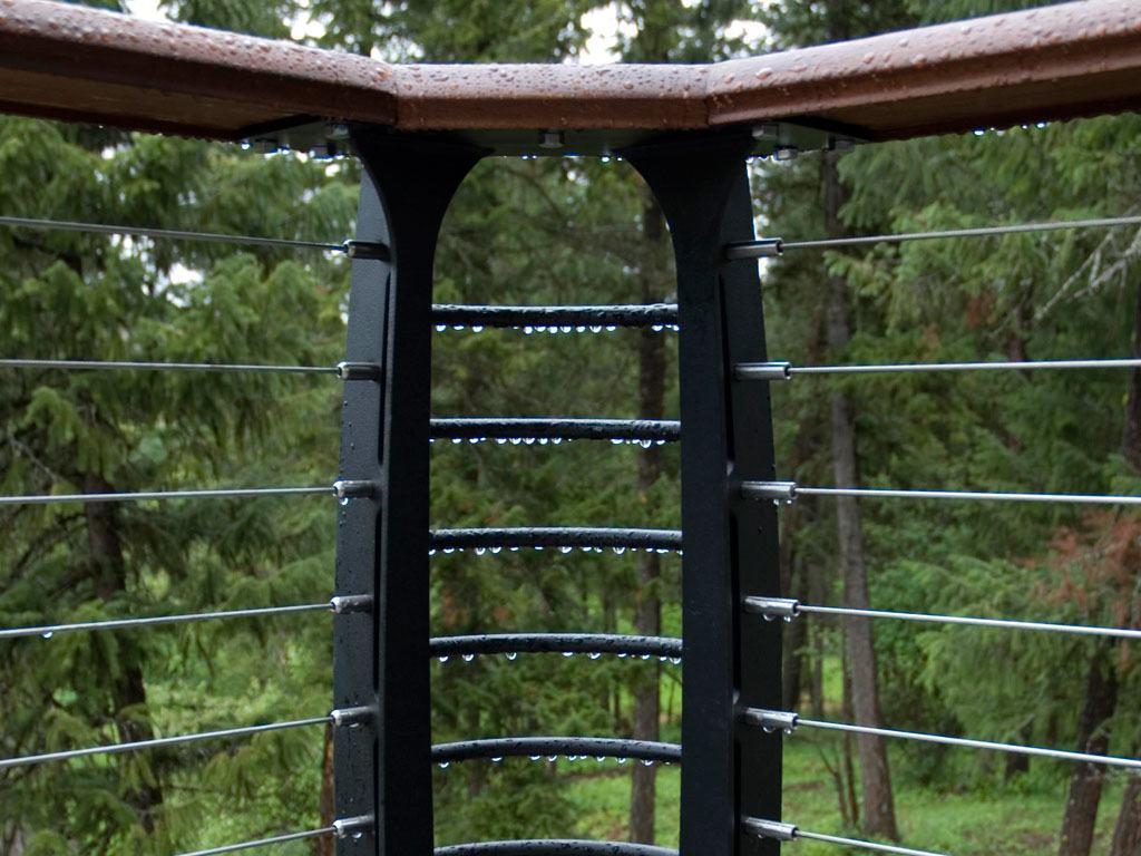 Composite deck with steel corner post