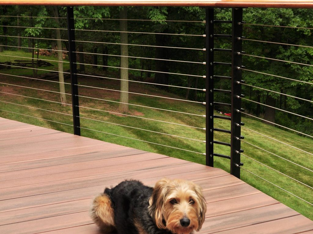 Composite decking with black steel cable railing