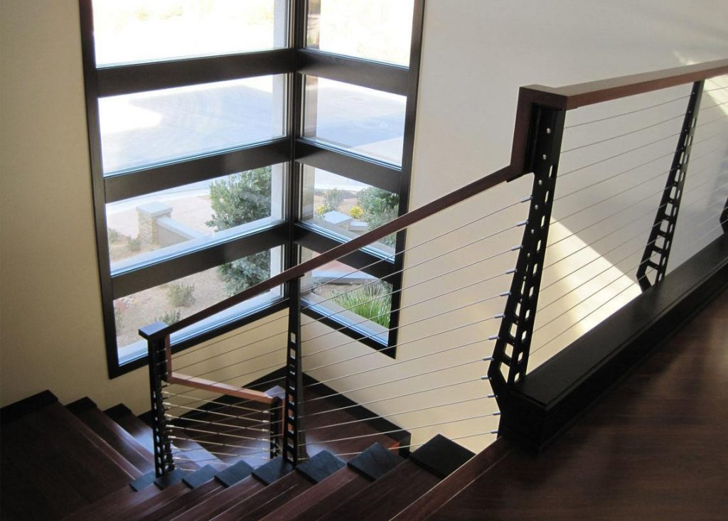 modern stair railing on a quarter landing stair
