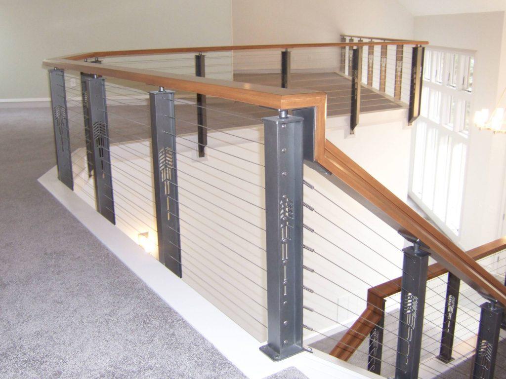 Craftsman style railing with herringbone pattern