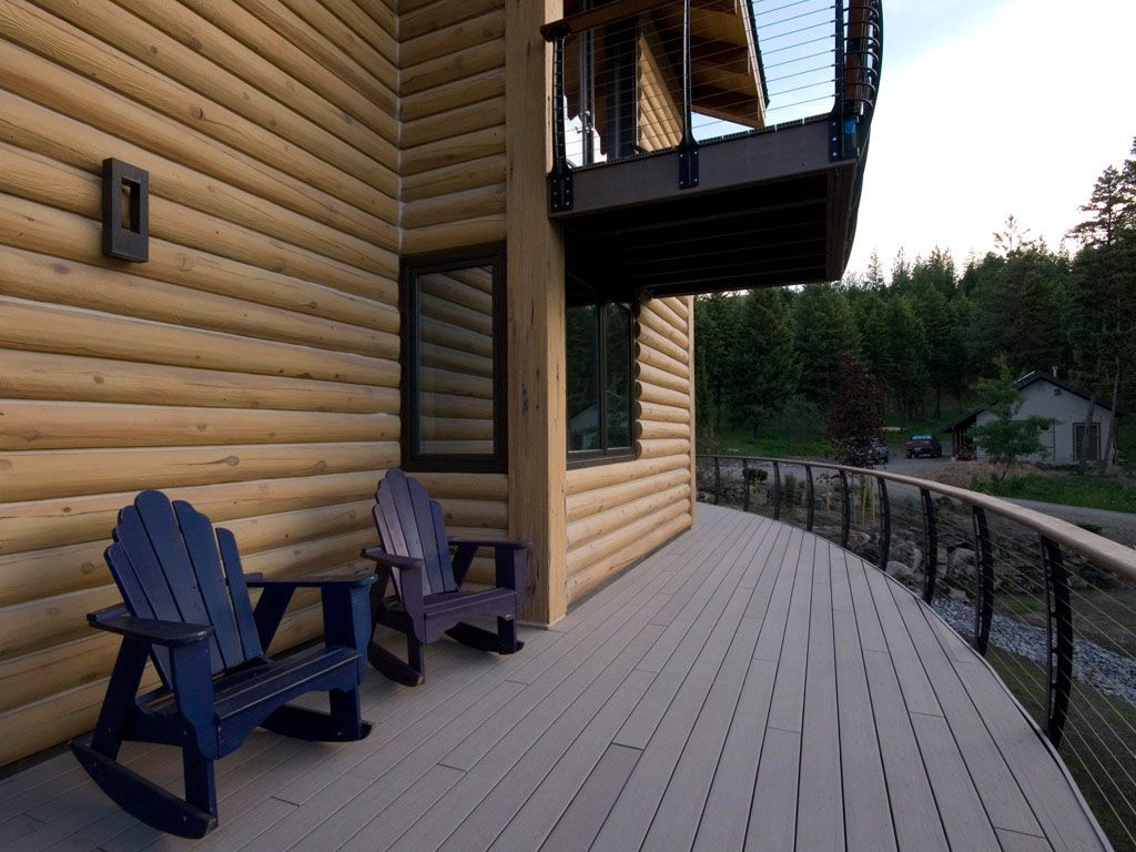 Curved composite deck and railing