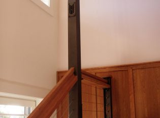 Custom herringbone lighted railing post