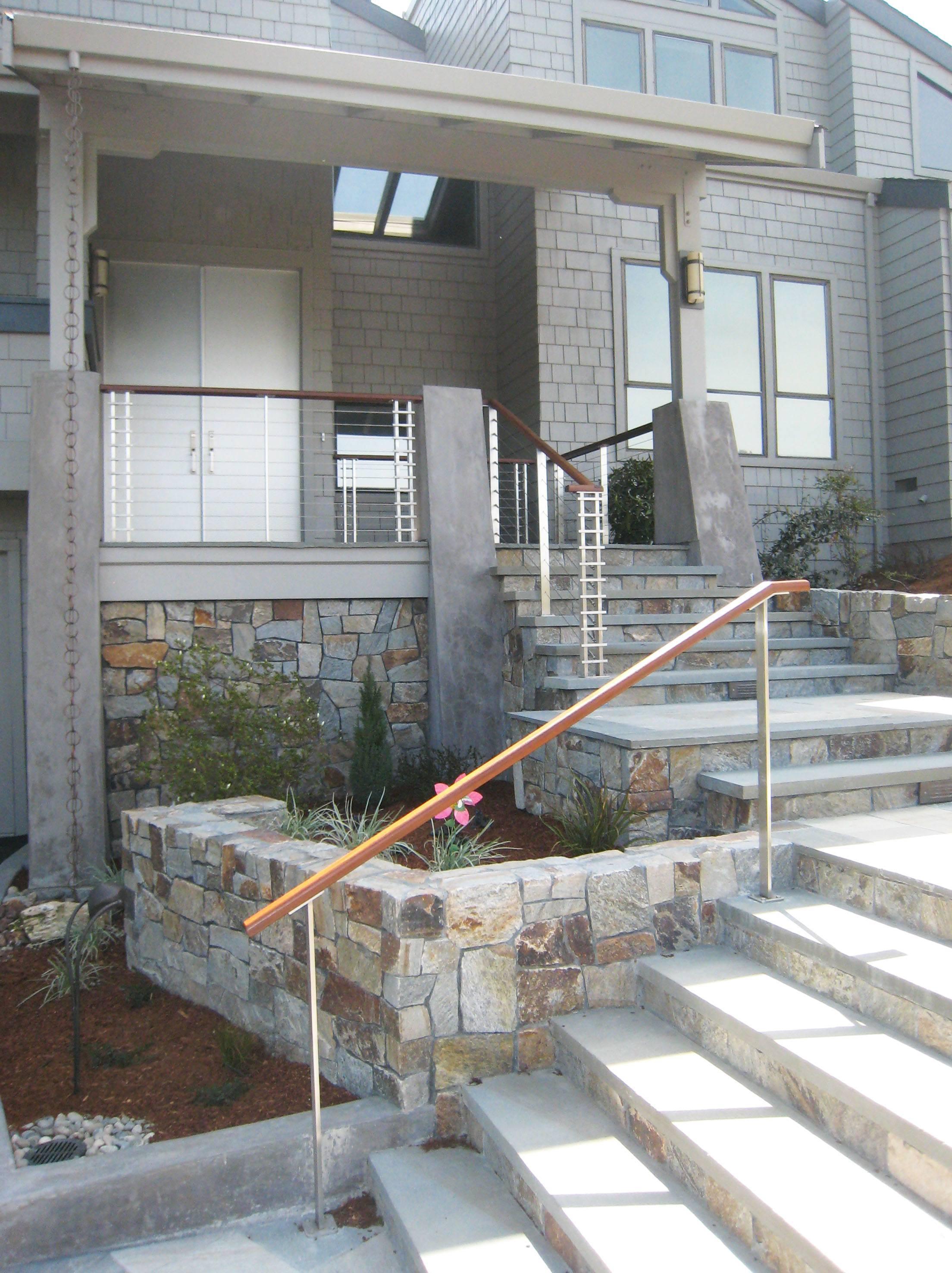 Custom stainless handrail support