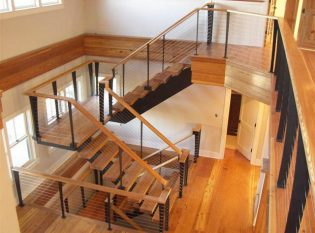 Custom cable stair railing Nantucket