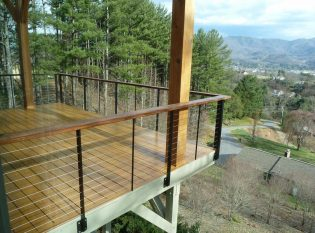 Deck railing in the mountains of North Carolina