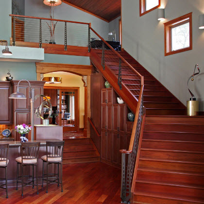 Cherry Staircase Cable Railing – Delavan, WI