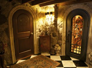 Entry door with speakeasy and wine cellar door