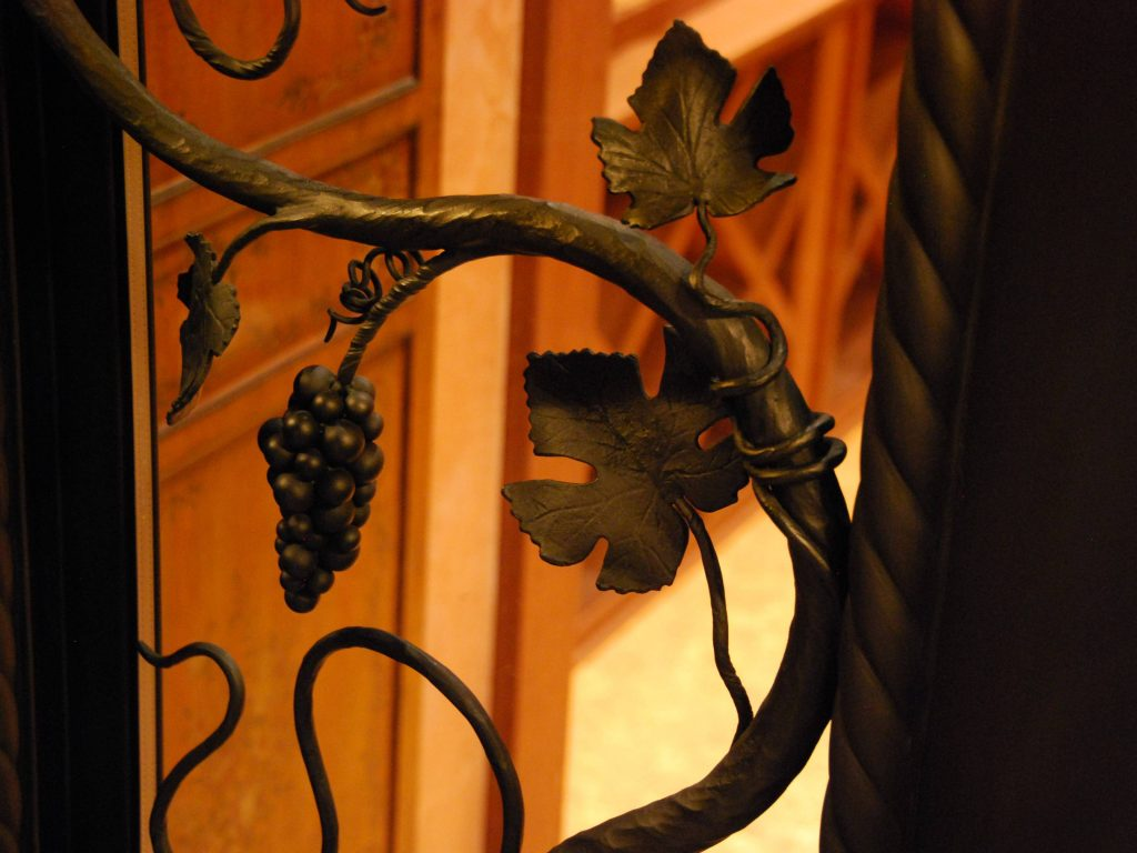 Hand forged grapes, leaves and vines