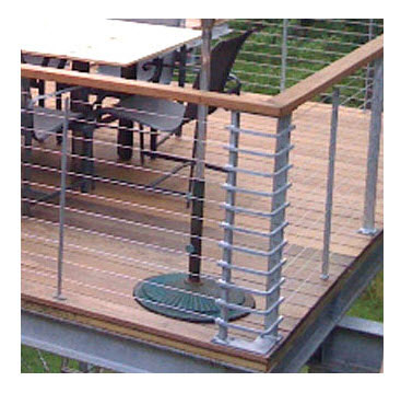 Hot dipped Galvanized railings photo of railing on a deck