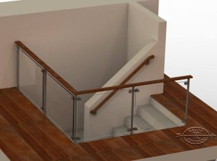 Glass railing rendering
