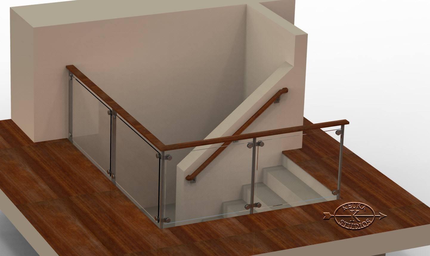 Glass railing rendering