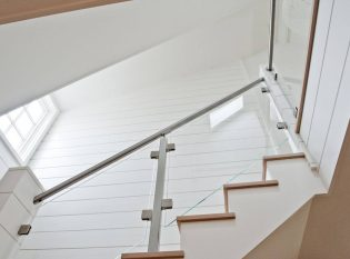 Glass Stair Railing With Custom Stainless Steel Posts