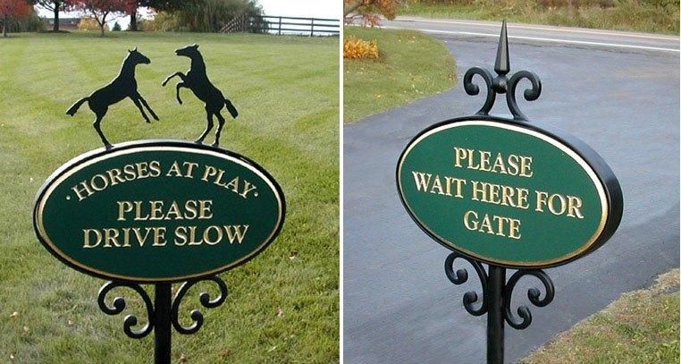 Horse farm signs