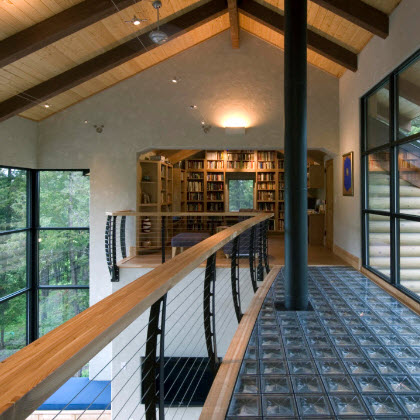 Keuka Studios Curved Cable Railing in Contemporary Balcony