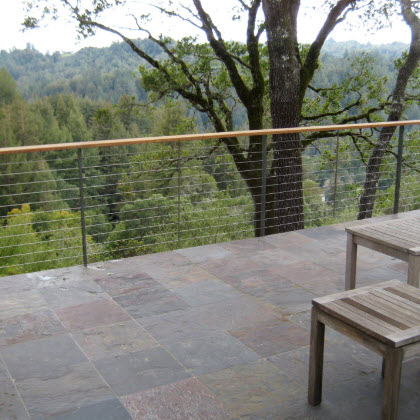 Ithaca style cable railing on a slate deck.