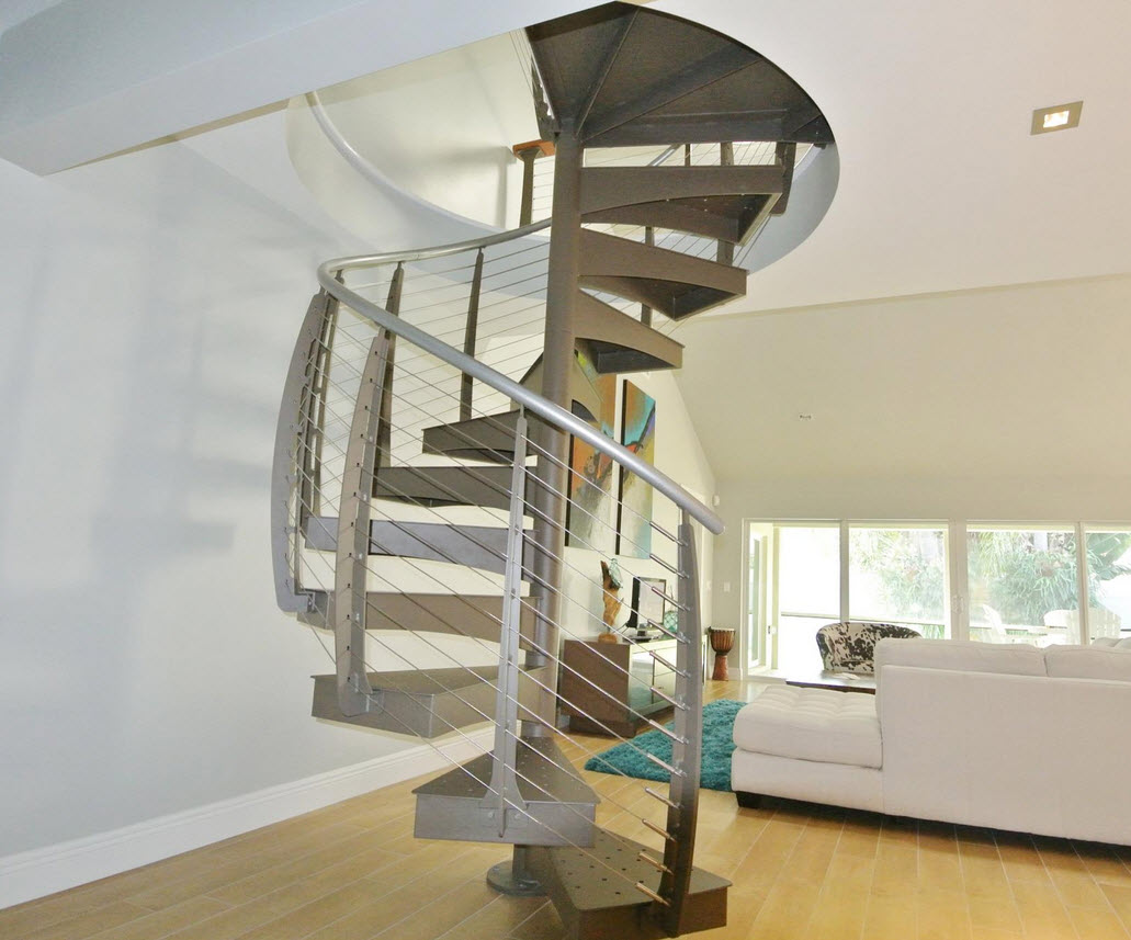 Close up of cable spiral staircase