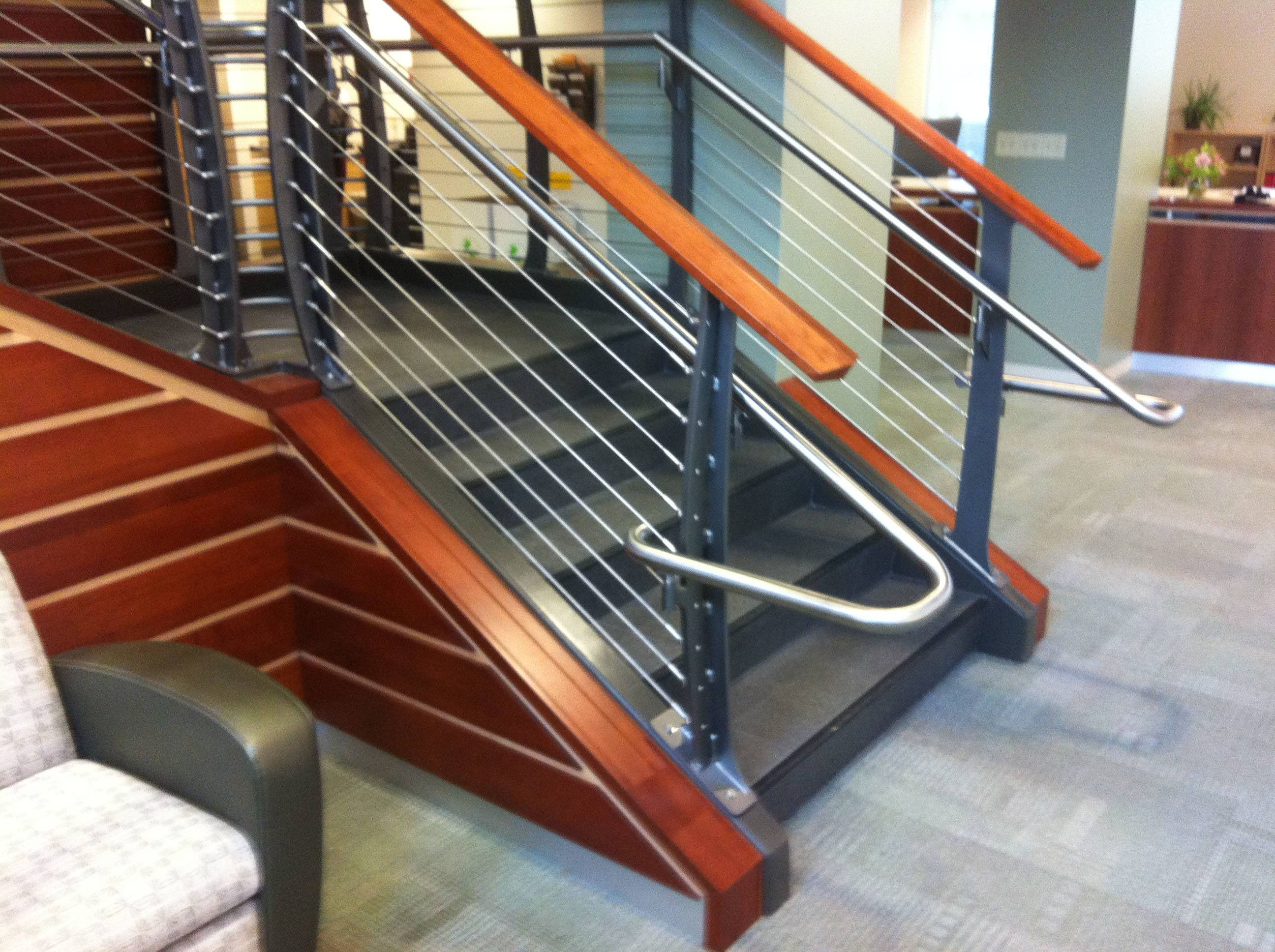 Keuka stainless handrail with cable railing system creating a nautical look at this college library