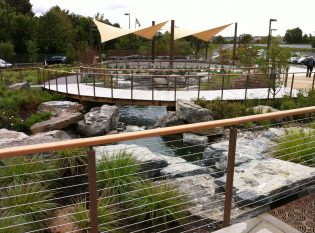 Keuka Studios colloborated with Rosamond Gifford Zoo to create cable railings for an outdoor oasis