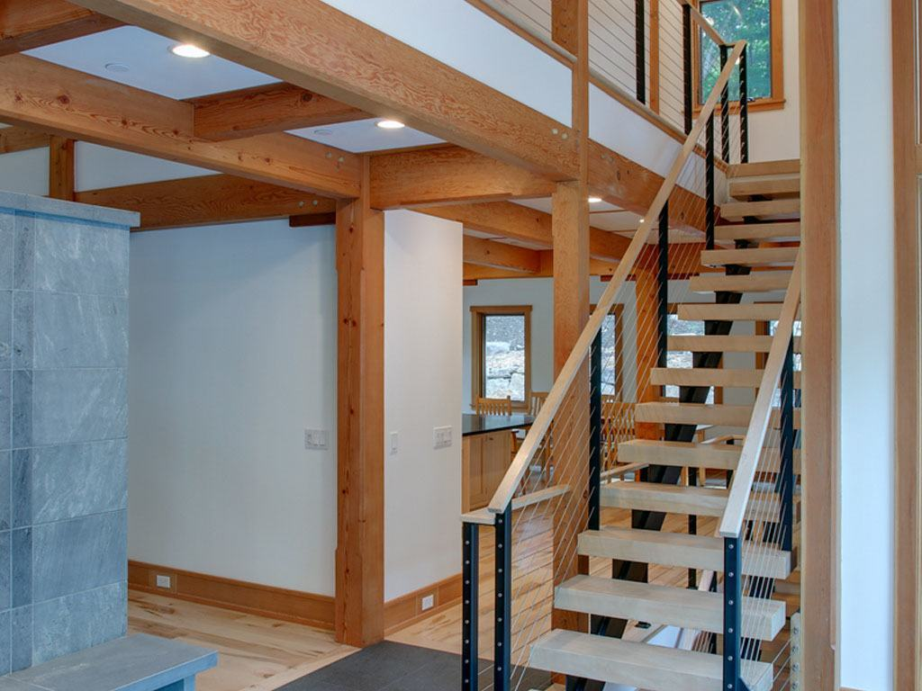 Keuka studios interior cable railing and staircase