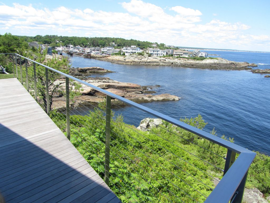 Brushed stainless steel deck railing in Ogunquit Maine.
