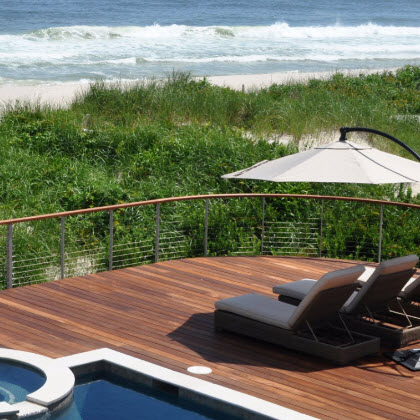 Pool Deck Railing with outdoor living space, Loveladies NJ