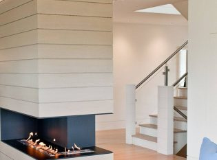 Modern Fireplace With Open Gas Flame