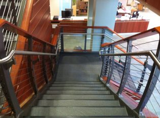 Multiple materials combined to create a nautical feel at th albany college library