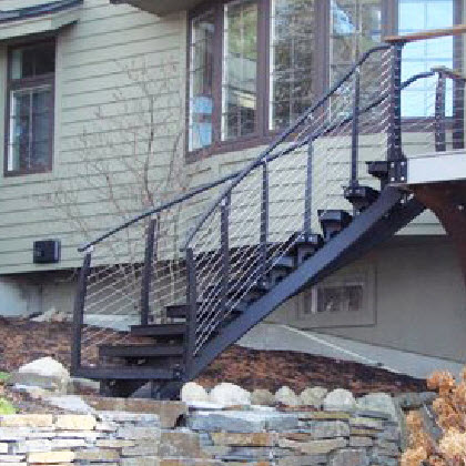 outdoor curved staircase