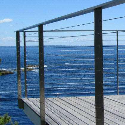 Custom Sleek Stainless Steel cable railing Ogunquit, Maine