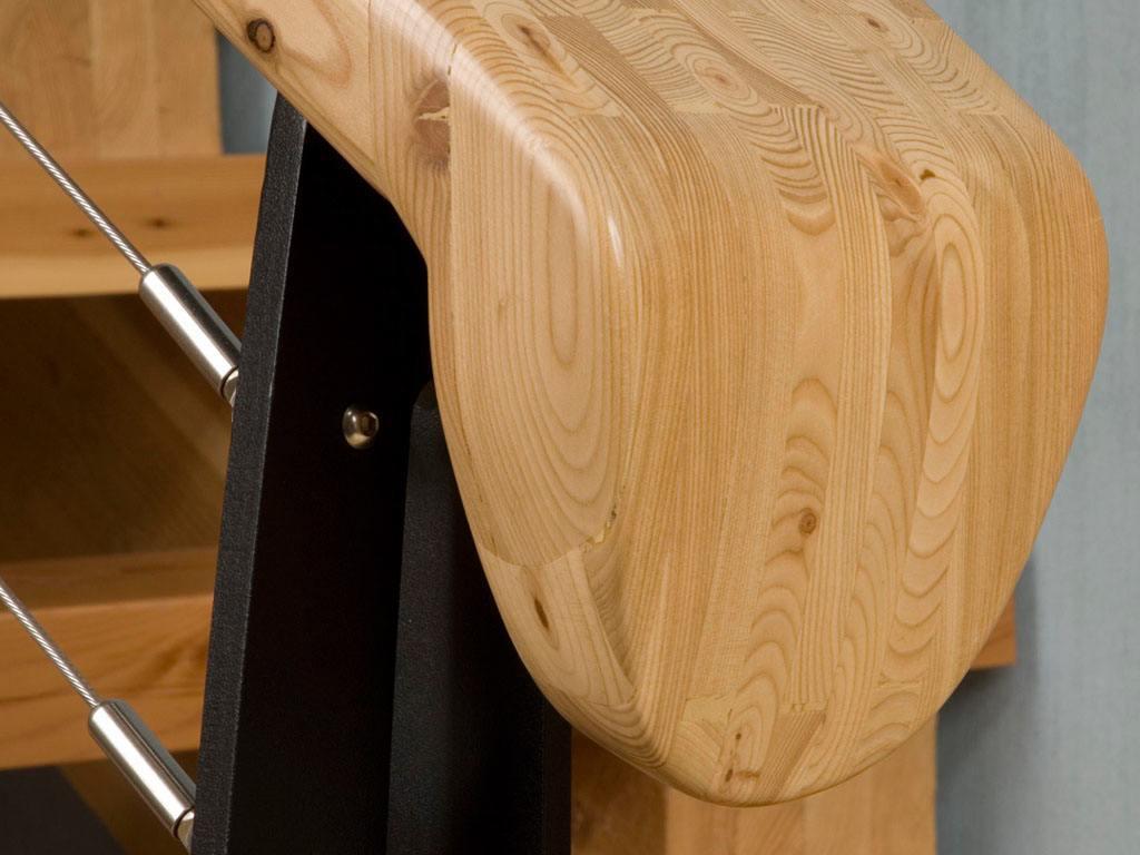 Pine handrail designed for Montana home