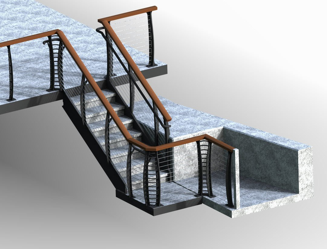 Rendering of railing on poured concrete stairs