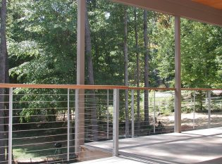 Railing with wood top rail