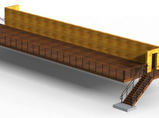 Rendering for building with cable railing
