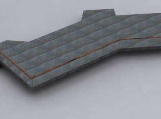 Rendering of Ithaca style railing with a slate deck