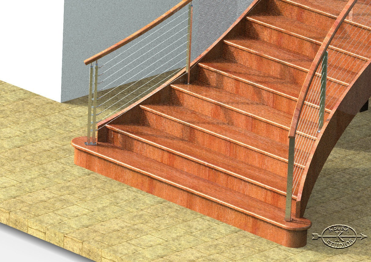 Rendering of cable railing newel post on curved staircase