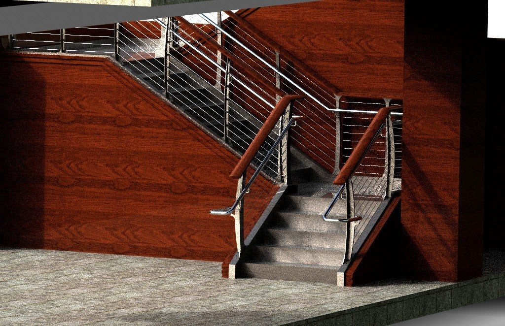 Rendering of stainless round railing