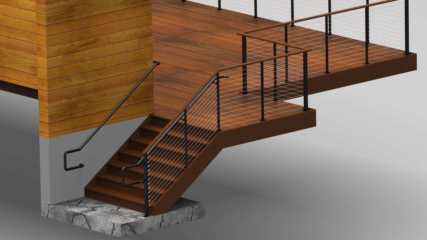Rendering of staircase and graspable hand railing