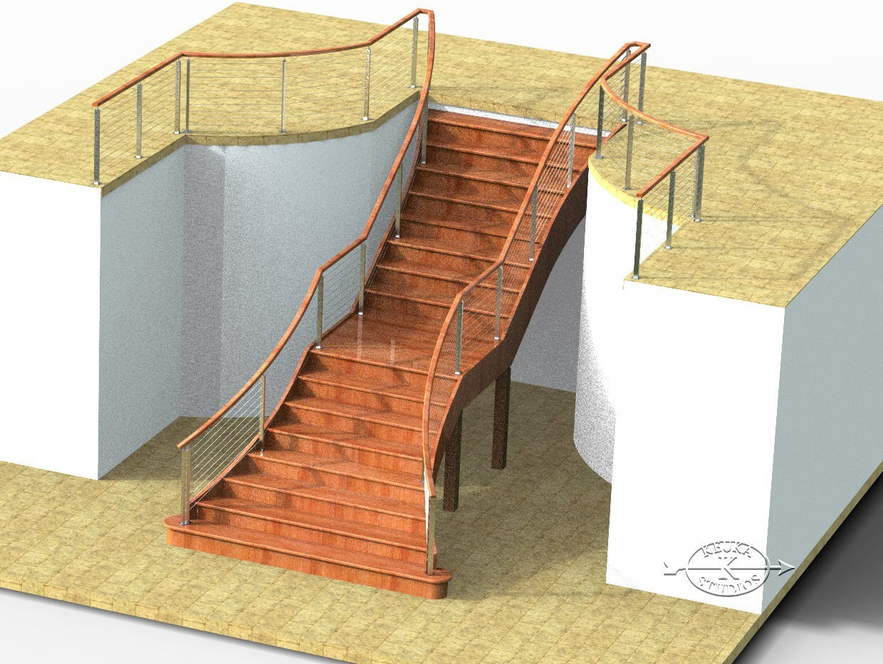 3D Realistic computer rendering of cable railing on interior staircase