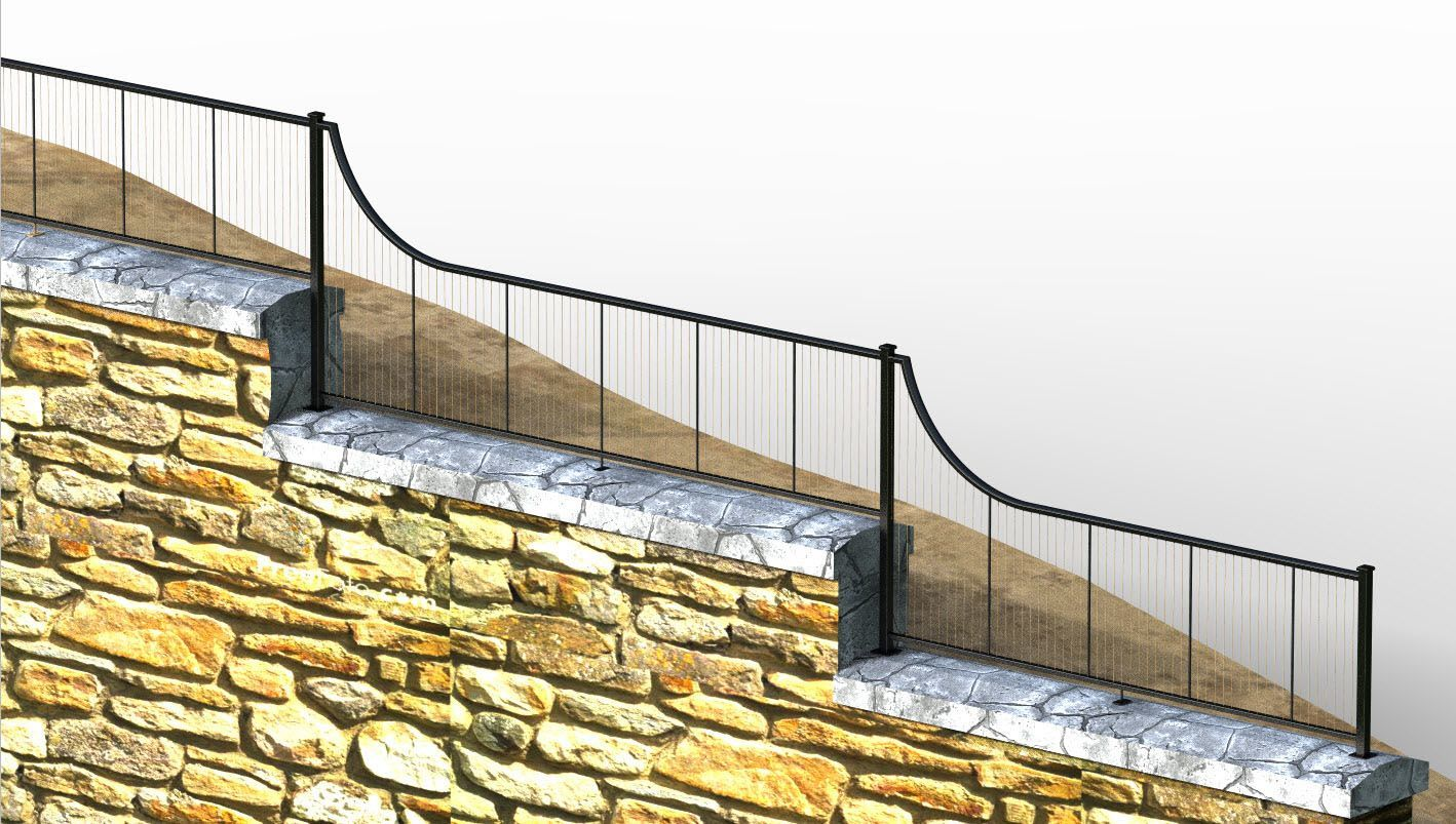 Rendering of vertical cable railing