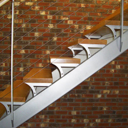 Open Stringer Stair with Custom Treads – Rochester, New York