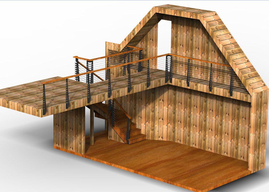 Rustic Rendering of loft, bridge and cable railing