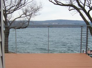 Cable railing for a deck on Seneca lake in the beautiful Finger Lakes region