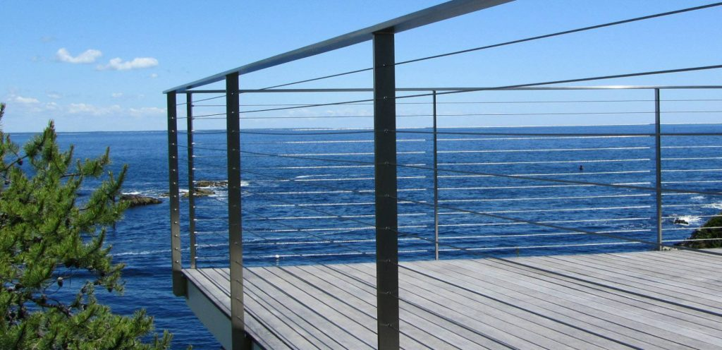 Sleek Brushed Stainless Steel Cable Railing by Keuka Studios