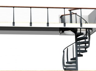 Spiral stair and cable railing rendering