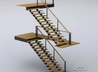 Rendering of stair and railing